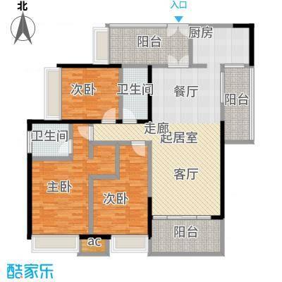 五洲花城二期135.00㎡F2户型3室2厅2卫