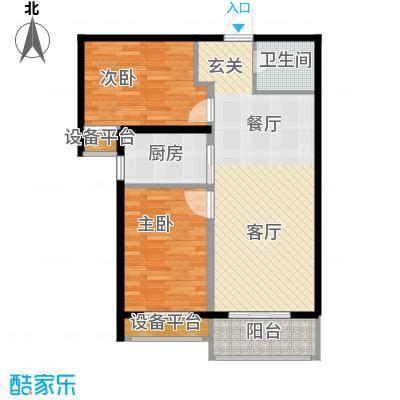 泰和福地水岸85.57㎡C3 两室两厅一卫户型2室2厅1卫