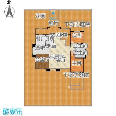 森林谷正弘湾538.00㎡法式商务花园B型 一层户型3室2厅2卫