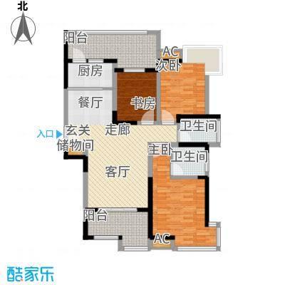 金业观湖大第135.00㎡3#A户型3室2厅2卫