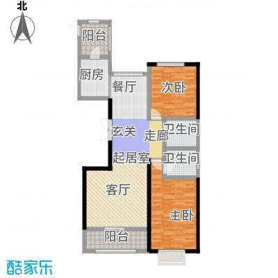 宏润・翠湖天地84.35㎡D2户型2室2厅2卫