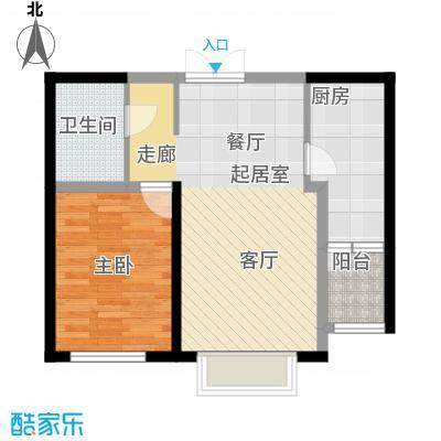 宏润・翠湖天地49.54㎡E4/F2户型1室1厅1卫