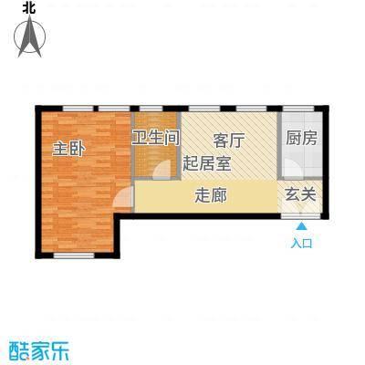逸城山色公馆60.00㎡一室一厅一卫户型1室1厅1卫