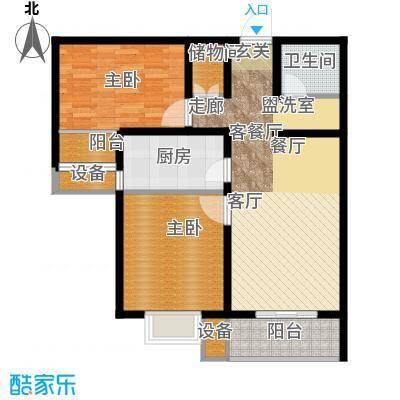 鑫丰近水庭院88.79㎡E-1-02户型两室两厅一卫户型2室2厅1卫