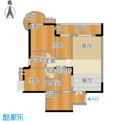 红塔汇翠山庄136.00㎡7栋02户型3室2厅2卫