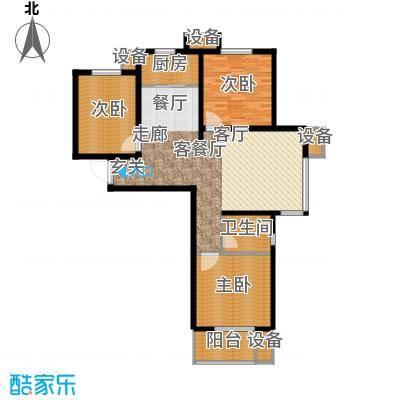 鑫丰近水庭院112.95㎡F-02户型三室两厅一卫户型3室2厅1卫