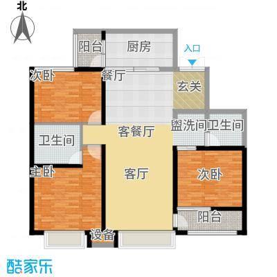 西双十贰城B2B户型 3室2厅1厨1卫1入户玄关2阳台 133.87平米户型