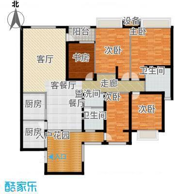 西双十贰城B3A、B4A户型 5室2厅2厨2卫1入户花园1阳台 198.8平米户型
