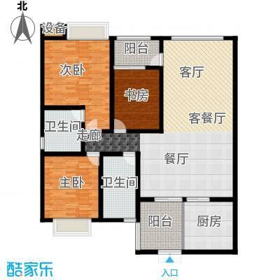 西双十贰城B3B、B4B户型 3室2厅1厨2卫1入户花园2阳台 147.38平米户型