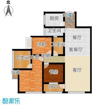 西双十贰城B3C、B4C户型 3室2厅1厨2卫2阳台 133.47平米户型