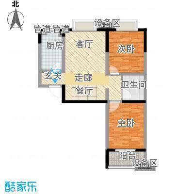 鑫丰近水庭院89.01㎡D-1 两室两厅一卫户型2室2厅1卫