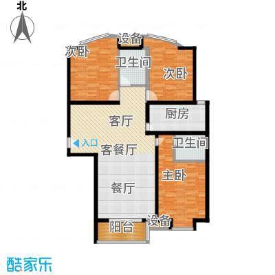 常春藤水岸国际135.00㎡D-2 三室两厅两卫户型3室2厅2卫