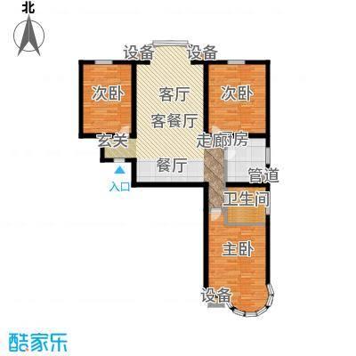 常春藤水岸国际112.00㎡C-2 三室两厅一卫户型3室2厅2卫
