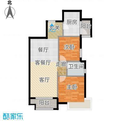 金道城79.86㎡13号楼东户两室两厅一卫户型2室2厅1卫