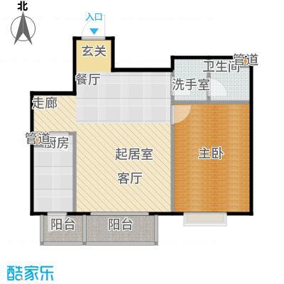 鸥洲电梯洋房户型图E户型1室2厅1卫