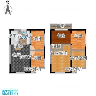 都市斓轩F户型 3室2厅1卫70.48㎡户型
