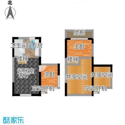 都市斓轩G户型 2室1厅1卫56.01㎡户型