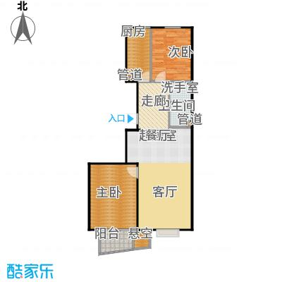 鸥洲电梯洋房户型图C户型2室2厅1卫