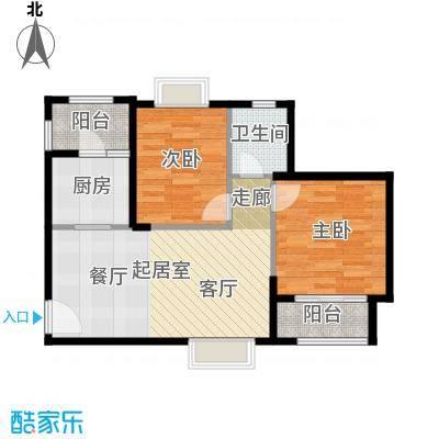 金道城75.31㎡12号楼东北户两室两厅一卫户型2室2厅1卫