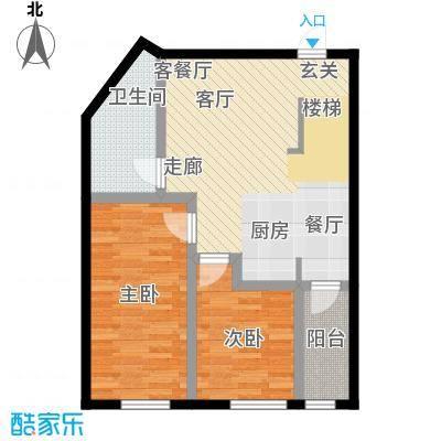 汇雄时代loft户型 LA-01 使用面积59.11平米户型