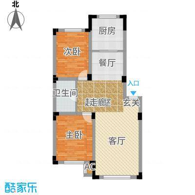 雷明锦程88.92㎡F户型2室2厅1卫户型2室2厅1卫