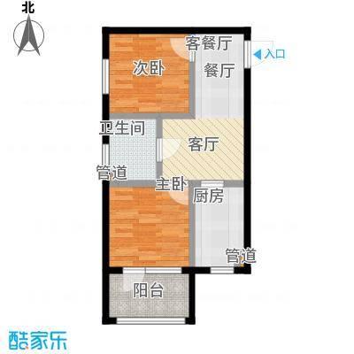七星九龙湾59.45㎡J户型 两室一厅一卫户型2室1厅1卫
