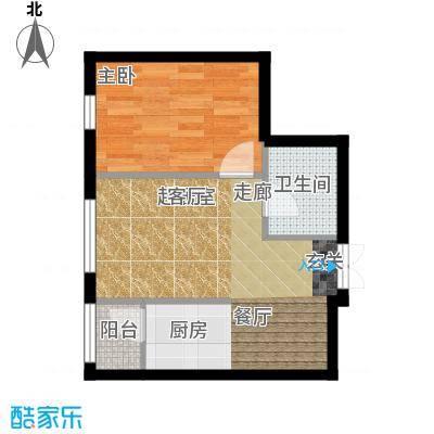 V时代H户型 一室两厅户型1室2厅1卫