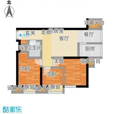凤城一号户型3室1卫1厨