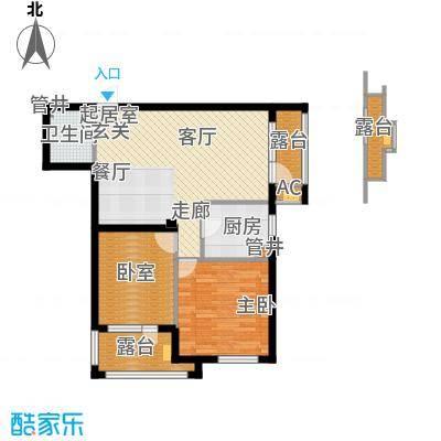 皇家御湾89.00㎡B2户型 两室两厅一卫户型2室2厅1卫
