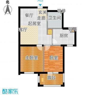 皇家御湾80.00㎡B3户型 两室两厅一卫户型2室2厅1卫