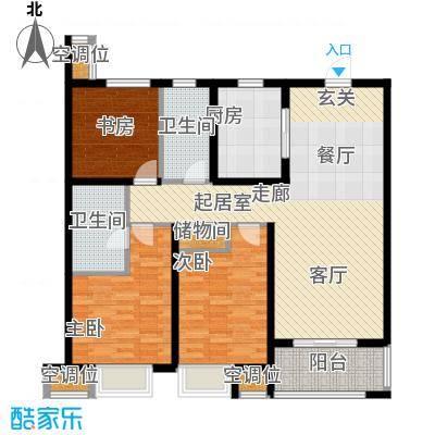 旭辉美澜城115.00㎡C2户型 面积约115平米户型3室2厅2卫