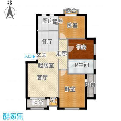 皇家御湾100.00㎡L3户型 三室两厅一卫户型3室2厅1卫