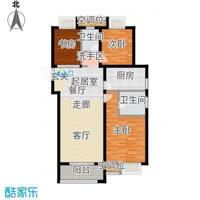 旭辉美澜城115.00㎡C1户型 面积约115平米户型3室2厅2卫