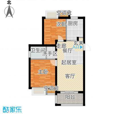 旭辉美澜城78.00㎡A1户型 面积约78平米户型2室2厅1卫