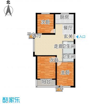 明日星城A户型三室两厅两卫户型3室2厅2卫