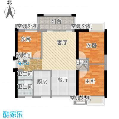 万科金悦华庭89.00㎡B2户型3室2厅1卫