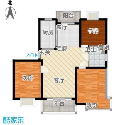 嘉骏香山苑104.98㎡房型: 三房; 面积段: 104.98 -106.44 平方米;户型