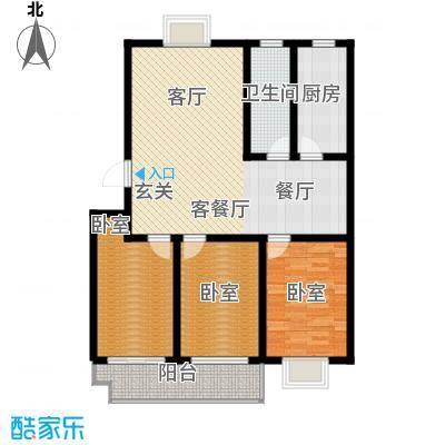 祥瑞家园105.00㎡B户型 两室两厅一卫户型2室2厅1卫