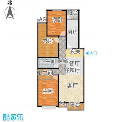 丽景溪城122.48㎡F三室两厅两卫户型3室2厅2卫