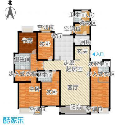 珠江道12号272.40㎡五室两厅三卫户型