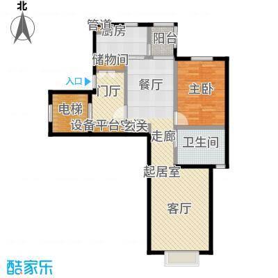 世茂威廉公馆78.00㎡一室两厅明卫 建筑面积 78平户型