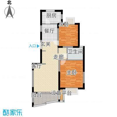 三湘盛世花园102.77㎡房型: 二房; 面积段: 102.77 -103.58 平方米;户型
