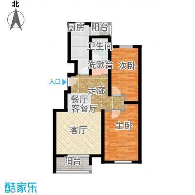 水岸天华99.81㎡二室二厅一卫户型