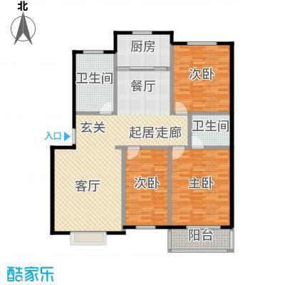 西湖庄园133.30㎡J-三室两厅两卫户型3室2厅2卫