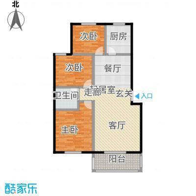 西湖庄园107.60㎡H-三室两厅一卫户型3室2厅1卫