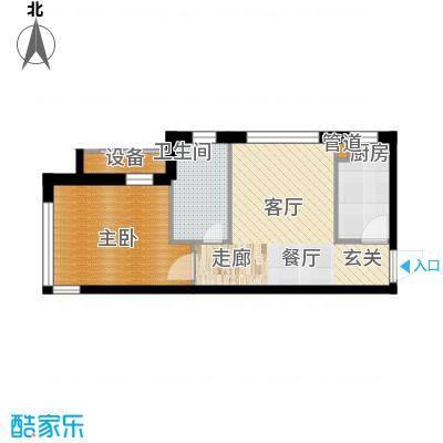 天缘水晶恋城51.31㎡A1户型一室一厅一卫户型1室1厅1卫