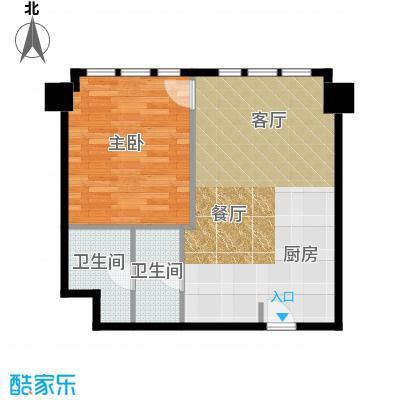 天津公馆一室两厅一卫 80平米户型
