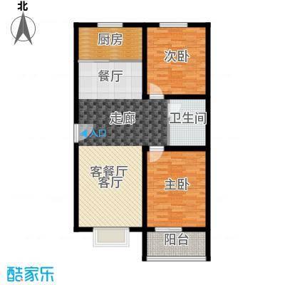 香溪茗苑89.98㎡5-F户型两室两厅一卫户型2室2厅1卫
