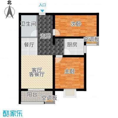 香溪茗苑88.91㎡2-B户型两室两厅一卫户型2室2厅1卫