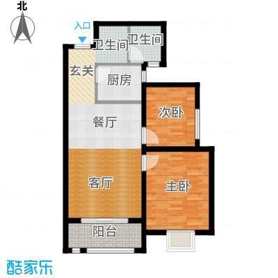 景寓学府87.04㎡B2户型 两室两厅一卫 经典两房 餐、客厅独立 宽阔主卧 270度飘窗设计户型